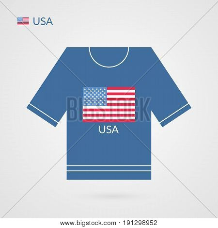 Vector USA t-shirt symbol. American national sport team icon isolated on white. Illustration sign with flag for competition championship game event presentation advertisement workout logo