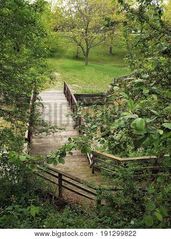 A wooden foot bridge over a pond.