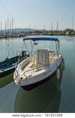 LEFKADA TOWN, GREECE JULY 17, 2014: yacht harbor at Lefkada town, Ionian Islands, Greece