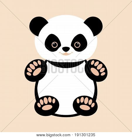 panda baby vector illustration style Flat  front side
