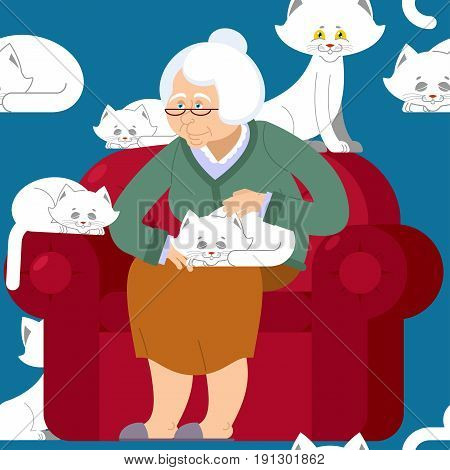 Cat Lady Pattern. Grandmother And Cat Sitting On Chair Pattern. Granny Ornament . Grandma And Pet Ba