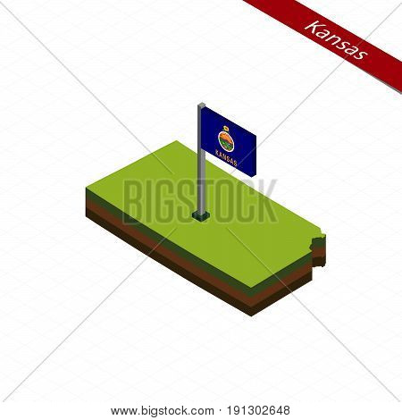 Kansas Isometric Map And Flag. Vector Illustration.