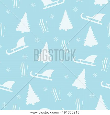 Winter seamless pattern on a blue background. A vector picture with fir-trees, sledge, skis and snowflakes
