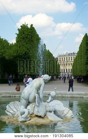 VIENNA, AUSTRIA - APR 30th, 2017: Venus fountain in Schonbrunn gardens. Schonbrunn gardens are one of the most important historical places in Austria. The former imperial 1441-room Rococo summer residence of Sissi Empress Elisabeth of Austria, Schonbrunn