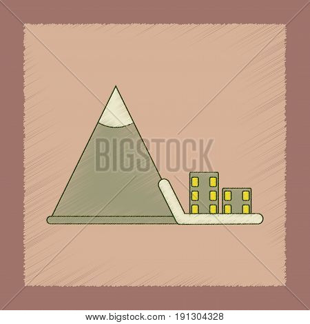 flat shading style icon of Mountain avalanche house