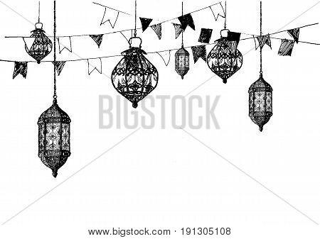 Ramadan Kareem Iftar party celebration, Eid Al Fitr Mubarak, Hand Drawn Sketch Vector illustration