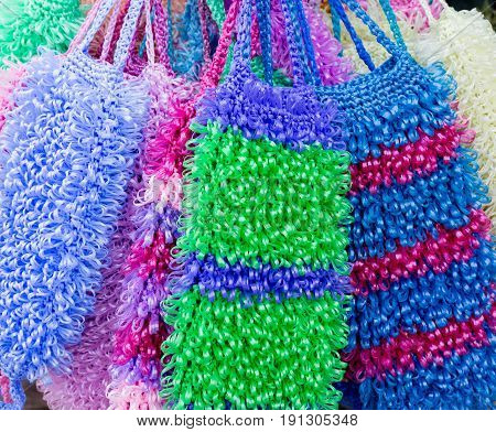 Colored washcloths. Handmade. Selling on the market.