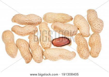 Closeup Peanuts in nutshell and peeled peanuts on white background. Top view