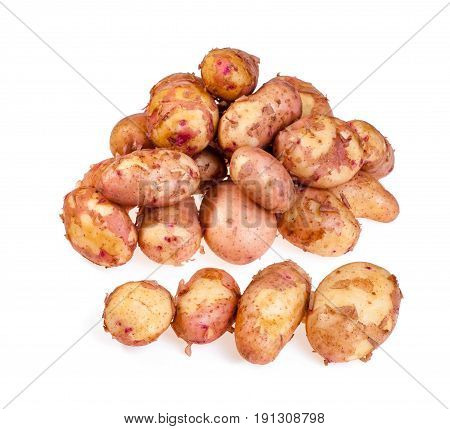 new potatoes with peel isolated on white background
