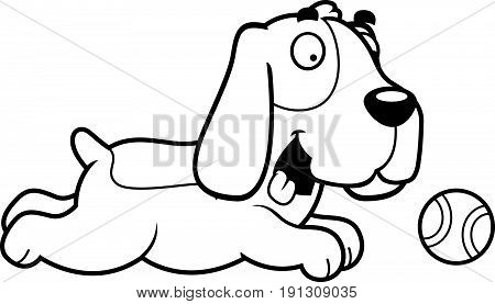 Cartoon Basset Hound Chasing Ball