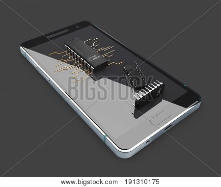 3D Illustration Of Transistors On The Phone Screen. Isolated Black