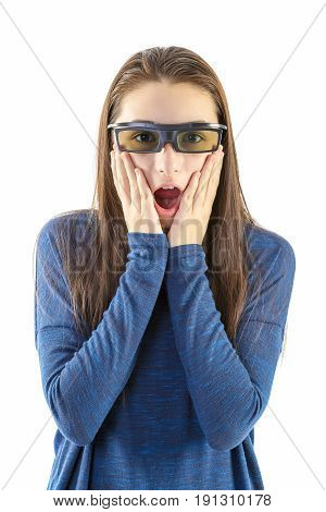 Amazed little girl with 3d glasses isolated on white background.