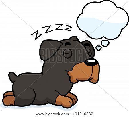 Cartoon Rottweiler Dreaming