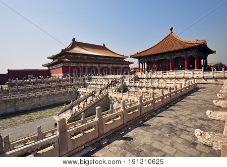 Beijing, China - September 22, 2009: Exterior Of The Forbidden City, Chinese Imperial Palace From Th