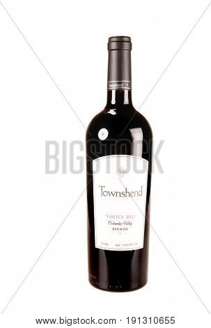 Colbert, WA - April 23, 2017: Bottle of Towmshend Winery Vortex Red a Columbia Valley red wine blend isolated on white - illustrative editorial