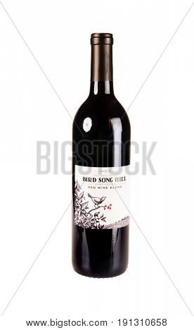 Colbert, WA - April 23, 2017: Bottle of Bird Song Hill Vineyards Columbia Valley Red Wine Blend isolated on white - illustrative editorial