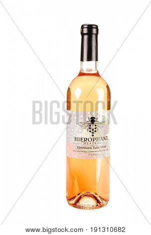 Colbert, WA - April 23, 2017: Bottle of Hierophant Meadery Hawthorn Tulsi Mead isolated on white - illustrative editorial