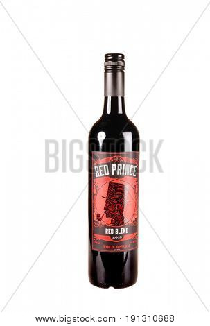 Colbert, WA - April 23, 2017: Bottle of Red Prince an Australian Red Wine blend isolated on white - illustrative editorial