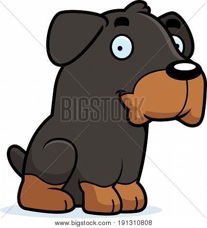 Cartoon Rottweiler Sitting