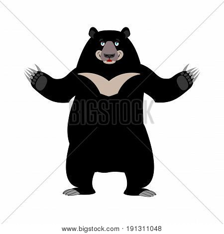 Himalayan Bear Happy Emotion. Merry Wild Animal Emoji. Black Big Beast