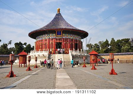 Beijing, China - September 22, 2009: Tourists At The Temple Of Heaven, Beijing. The Temple Of Heaven
