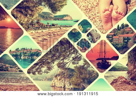 The collage of Montenegro landscape in summer. Travel vacation background. Vintage toned