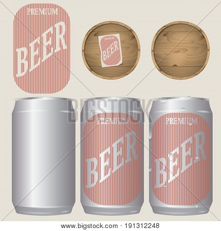 vector illustration of set of realistic beer cans 330 ml and barrels for the design. pattern beer label in vintage style. droplets of water