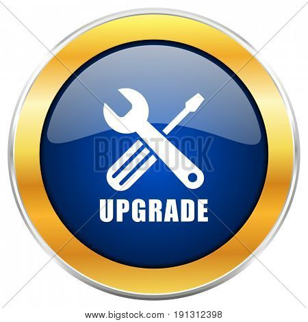 Upgrade blue web icon with golden chrome metallic border isolated on white background for web and mobile apps designers.