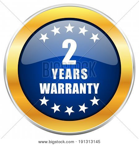 Warranty guarantee 2 year blue web icon with golden chrome metallic border isolated on white background for web and mobile apps designers.