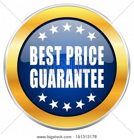 Best price guarantee blue web icon with golden chrome metallic border isolated on white background for web and mobile apps designers.