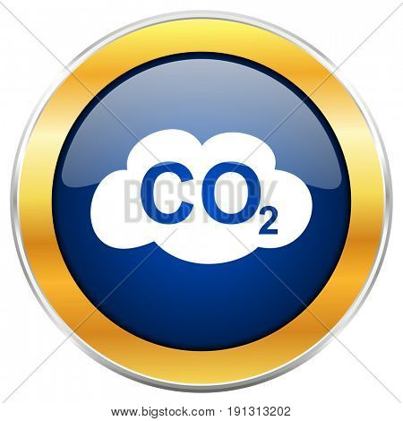 Carbon dioxide blue web icon with golden chrome metallic border isolated on white background for web and mobile apps designers.