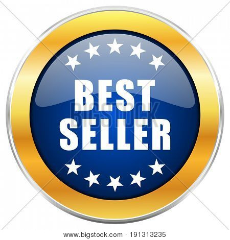 Best seller blue web icon with golden chrome metallic border isolated on white background for web and mobile apps designers.