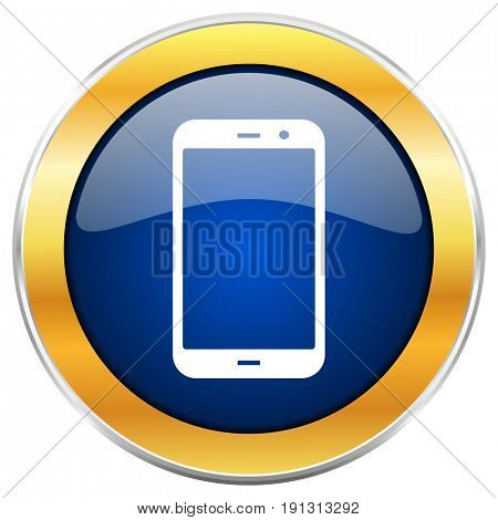 Smartphone blue web icon with golden chrome metallic border isolated on white background for web and mobile apps designers.