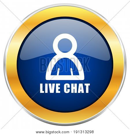 Live chat blue web icon with golden chrome metallic border isolated on white background for web and mobile apps designers.