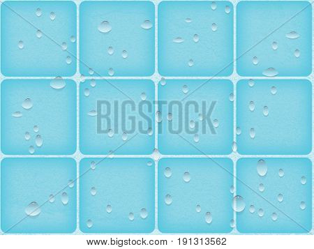 vector background image tile large with rounded corners and drops of water. blue bathroom or swimming pool and sauna. simulation of roughness