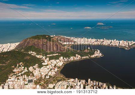 High Angle View of Rodrigo de Freitas Lagoon, Cabritos Mountain, Ipanema District, Atlantic Ocean and Cagarras Islands, Seen From the Corcovado Mountain in Rio de Janeiro, Brazil