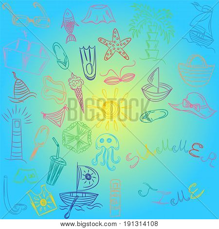 Summer Time. Hand Drawings of Summer Vacancies Symbols. Colorful Doodle Boats Ice cream Palms Hat Umbrella Jellyfish Cocktail Sun. Vector Illustration.