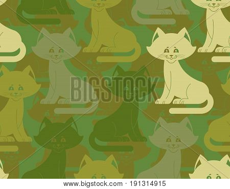 Military Texture Cat. Army Kitten Seamless Texture. Soldiers Pet Background. Protective Pattern. Cam