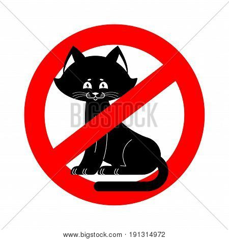 Stop Cat. Ban Pet Is Forbidden. Red Prohibitory Road Sign
