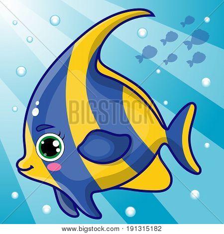 Moorish Idol Fish Illustration, Cartoon Hand Drawn, Tropical Fish Character Under Water, Vector EPS 10