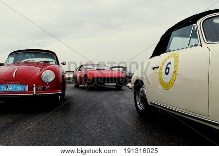 RADOLFZELL AM BODENSEE, GERMANY -  SEP 28: Vintage sportscars at a car rally September 28, 2012, Lake Constance region.