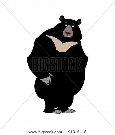 Himalayan Bear Sad Emotion. Sorrowful Wild Animal Emoji. Black Big Beast