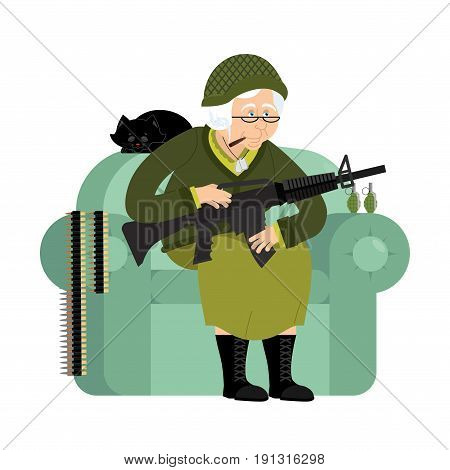 Military Grandmother With Gun. Army Old Woman In An Armchair With Tommy Gun And Cat. Soldier Grandma