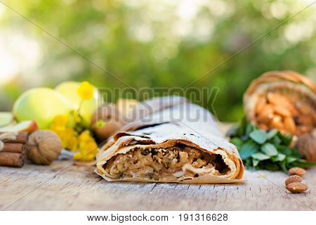 Strudel With Apples. Summer Breakfast In Nature.