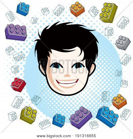 Boy face human head. Vector character happy brunet teenager with stylish haircut.