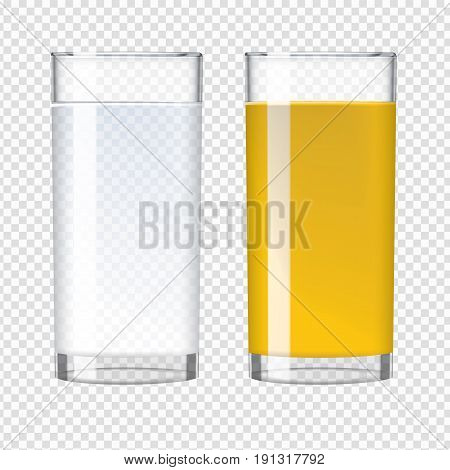 Orange fresh juice and pure water in a glass. Transparent realistic vector illustration.