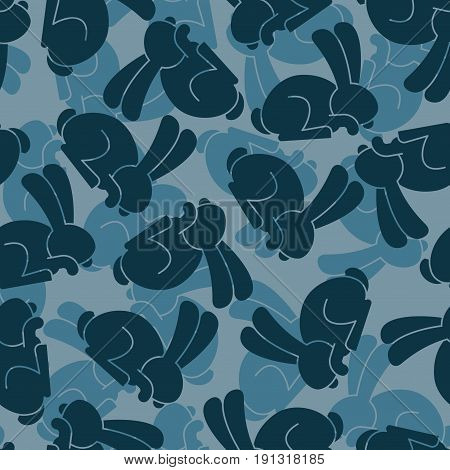 Military Texture Rabbit. Army Bunny Seamless Texture. Soldiers Hare Background. Protective Pattern.