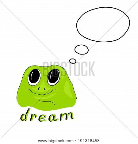 Vector illustration with green frog on white background. Cartoon template design for banner, poster, cover. Dreaming frog with space for text in word bubble