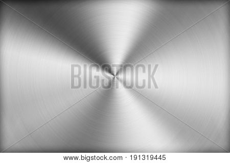 Technology Background With Polished, Brushed Metal, Radial Texture Of Alloy, Titan, Steel, Chrome, N