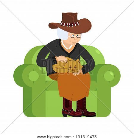 Western Grandmother Cowboy And Cat Sitting On Chair. Texan Granny Cat Lady. Grandma In Texas And Pet
